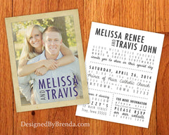 Vintage Style Wedding Invitations with Photo on Front and Wording on Back