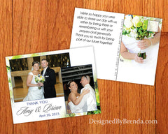 Floral Wedding Thank You Postcard with Bouquet Background - Creative & Unique