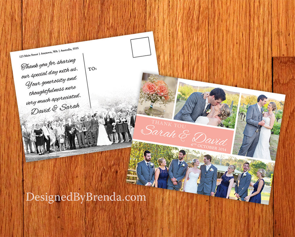 Coral Peach Wedding Thank You Card with Panoramic Photo - Fun, Modern Look