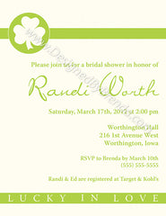 Simple Lucky in Love Bridal Shower Invitation