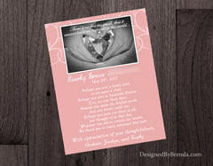 Double Sided Memorial Thank You Card with Photo Collage and Poem - Pink