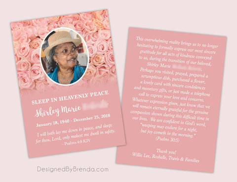 Beautiful Memorial Card with Photo on Pink Rose Background