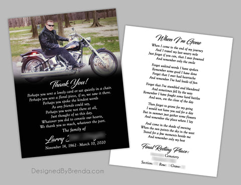 Black Memorial Card with Photo - Double Sided, Masculine Feel, Motorcycle
