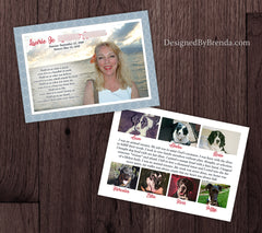 Keepsake Memorial Card with Photo and Obituary - Double Sided with Poem on Back