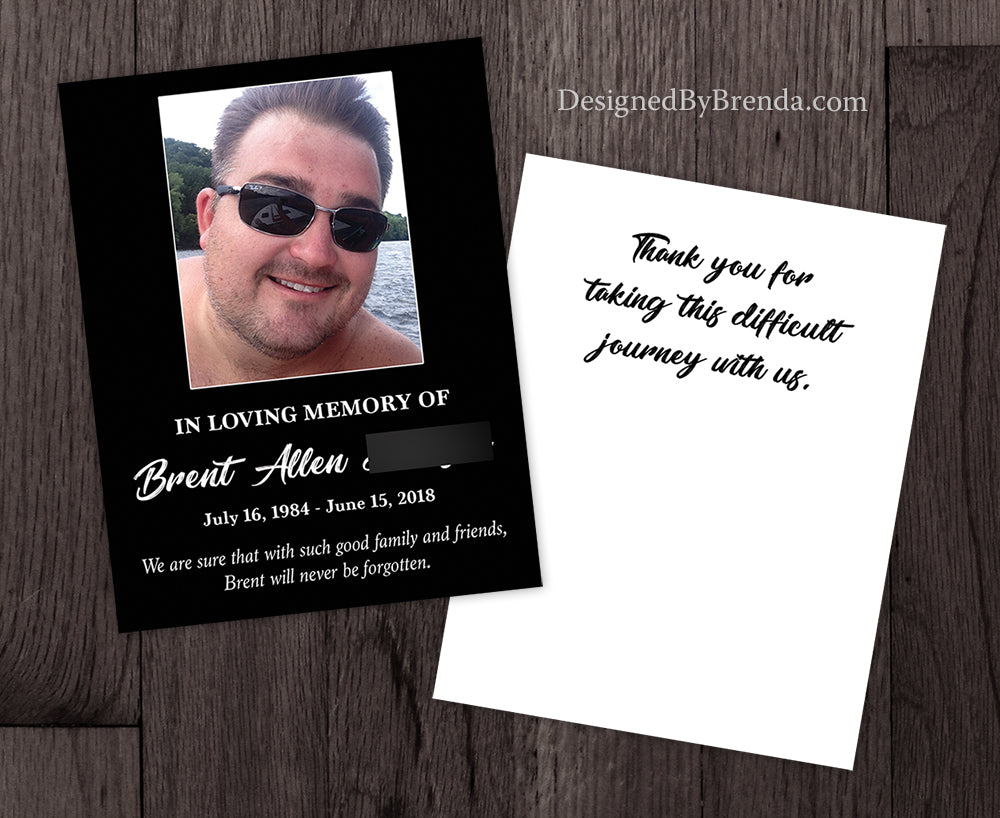 Double Sided Memorial Thank You Card with Photo and Thank You Message on Back