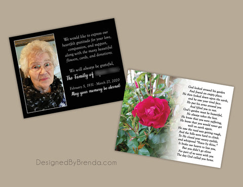 Memorial Thank You Card with Photo, Rose and Poem