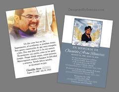 Simple Memorial Card with Photo and Poem - In Spanish or any Language