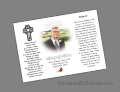 Religious Memorial Thank You Card with Photo, Cross and Psalms 23