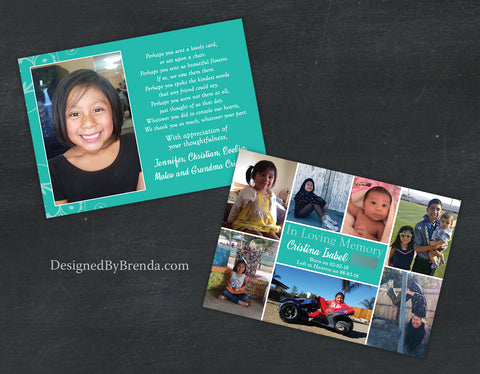 Colorful Memorial Thank You Card with Custom Photo Collage - Teal can be any color