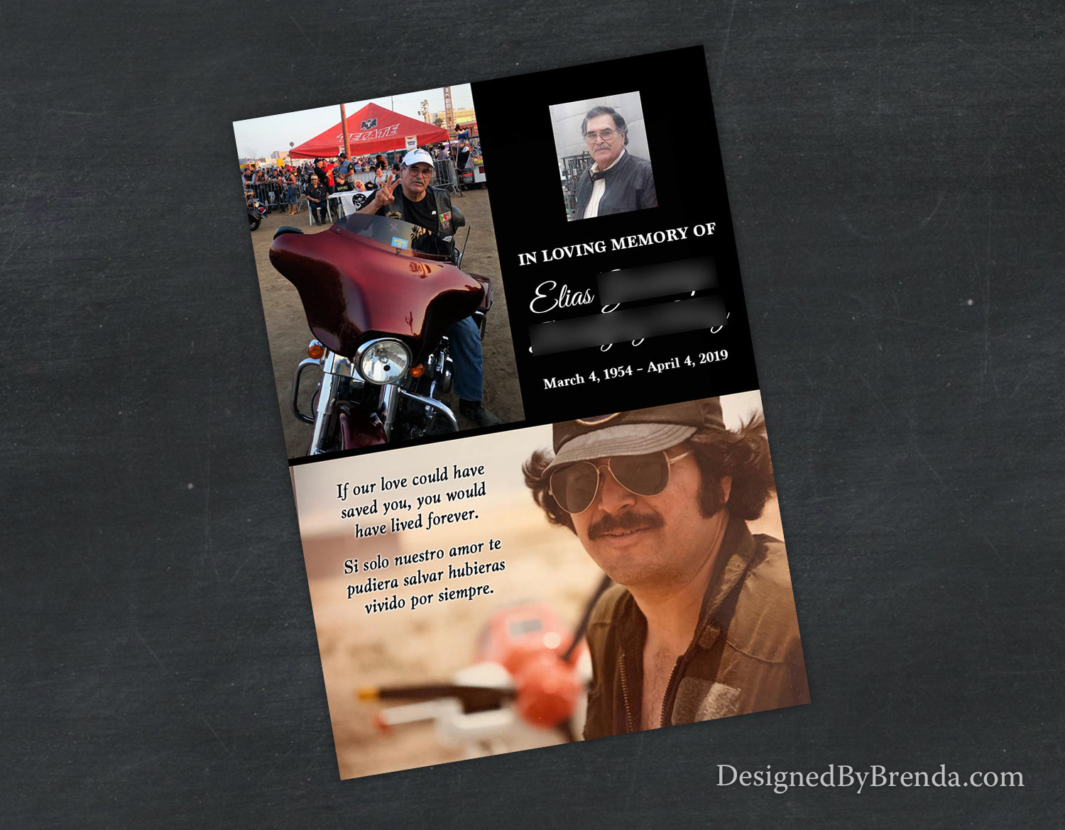 Custom Memorial Card with Unique Photo Collage - English and Spanish