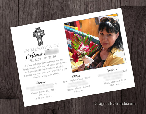 Religious Memorial Card with Photo and Funeral & Wake Information