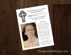 Religious Memorial Thank You Card with Photo & Psalms 23 in Spanish or English