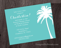 Teal Moving Cards with Tropical Palm Tree - Change of Address Postcard