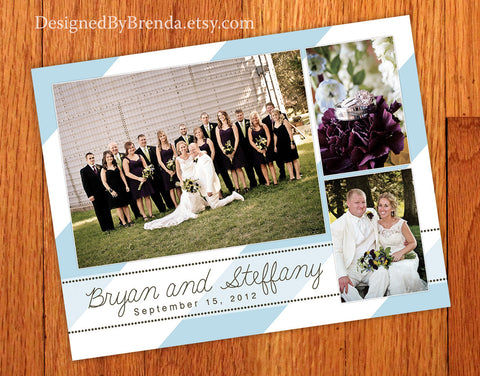 Wedding Thank You Postcards - Diagonal Stripes or Chevron Background