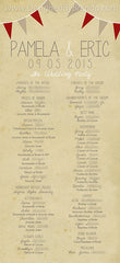 Vintage Style Wedding Programs - Double Sided with Rustic Photo & Banner