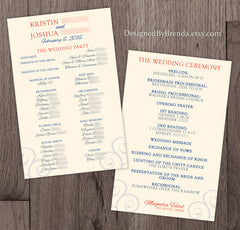 Custom Designed Wedding Program - Double Sided with Decorative Swirls