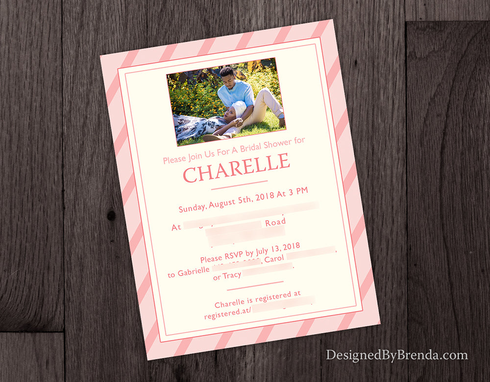 Pink Stripes Bridal or Baby Shower Invitation with Photo