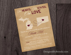 Rustic States Bridal Shower Invitation with Vintage Kraft Look