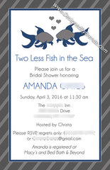 Large Bridal Shower Invitation - Two Less Fish in the Sea - Coral & Teal with Beta Fish