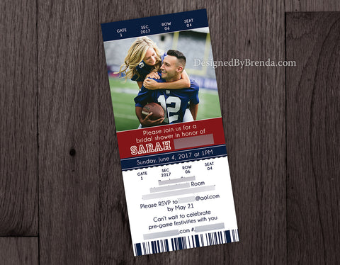 Ticket Bridal Shower Invitation - Sports Themed - Can also be Wedding Invitation