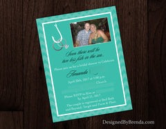 Two Less Fish in the Sea Save the Dates with Photo - Hooked on Love - Rings on Hook