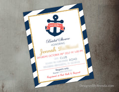 Nautical Anchor Bridal Shower Brunch Invitation - Navy, Pink & Metallic Gold