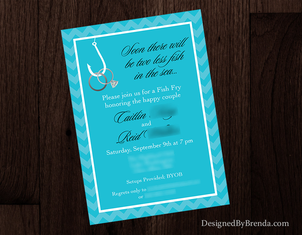 Two Less Fish In The Sea Engagement Party Invitations