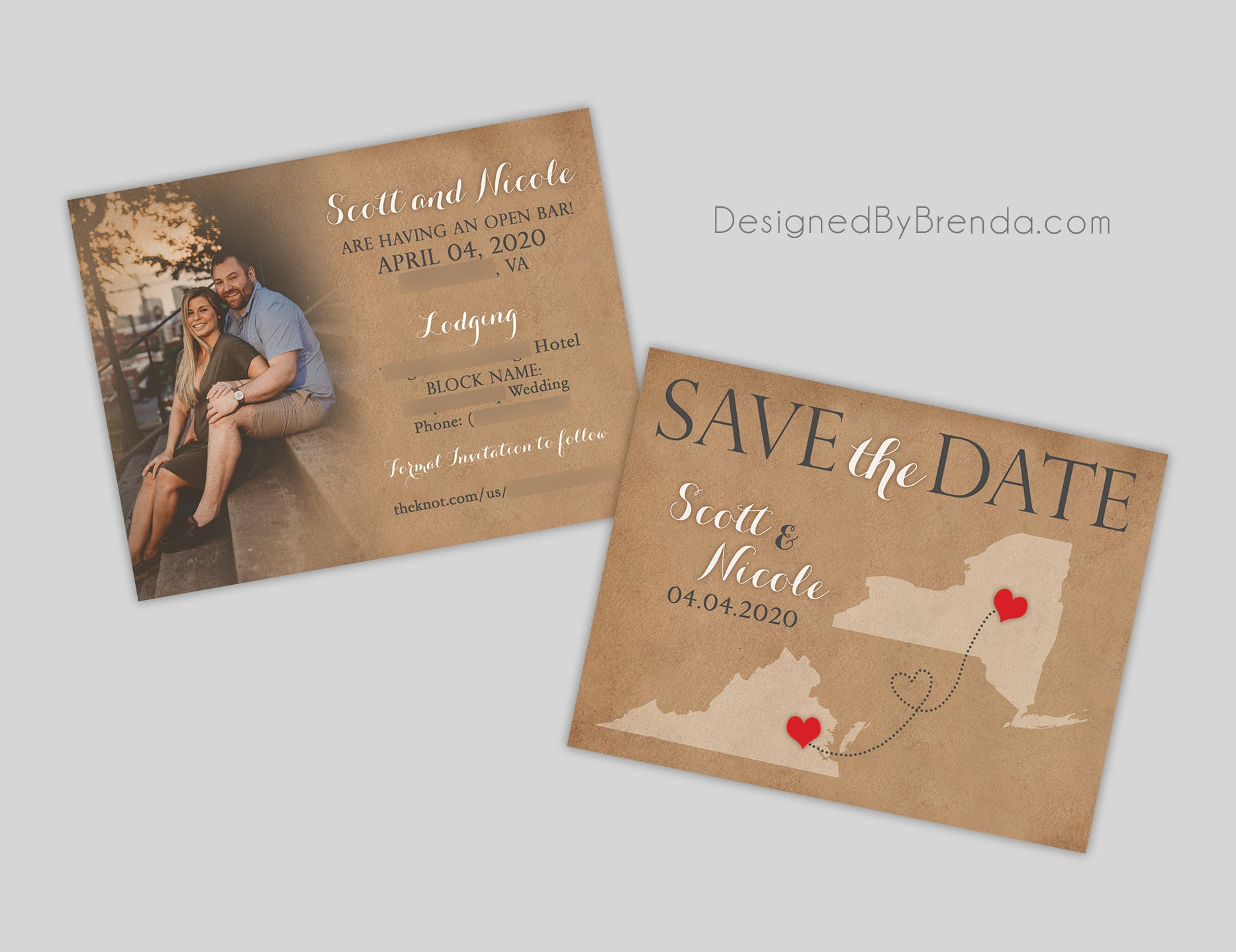 Vintage Style Save the Date - Rustic Southern Feel with Map of States