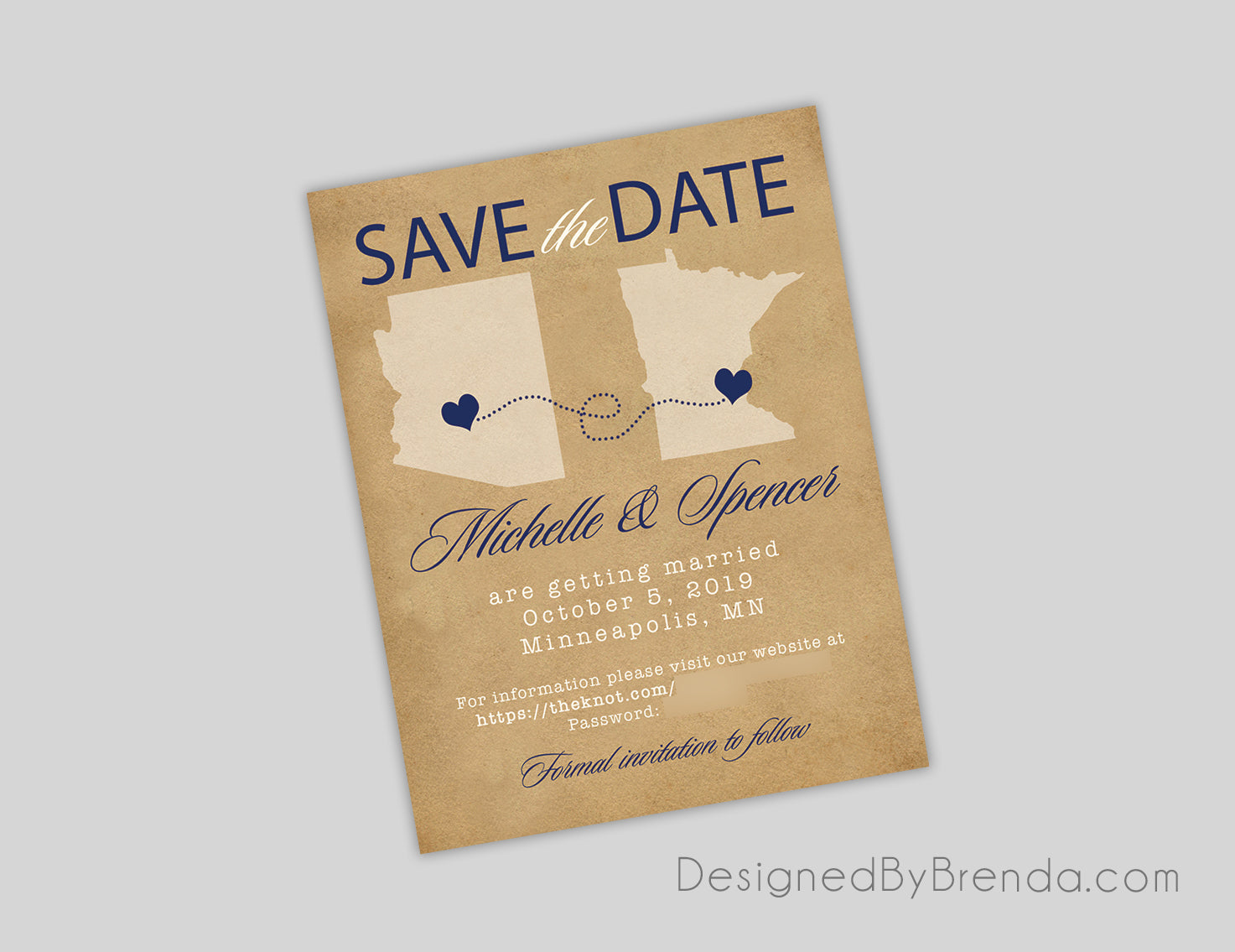 Vintage Save the Date Card with States and Hometowns - Rustic Look