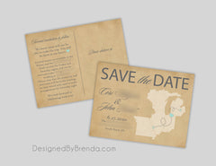 Rustic Save the Date Postcard with 3 or 4 States or Countries - Blue & Orange