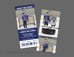 Football Ticket Save the Date Card with Photos
