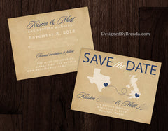 Vintage Style Save the Date with Two Locations - Two Hearts, Two States, One Love