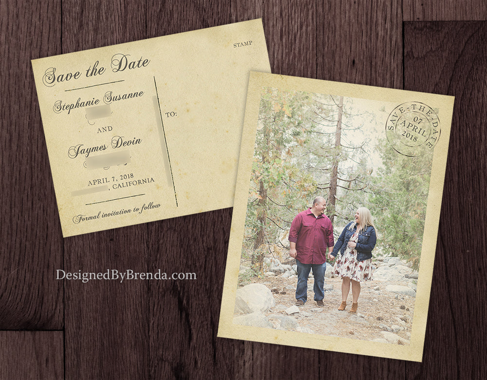 vintage save the date postcards with rustic postmark and old photo