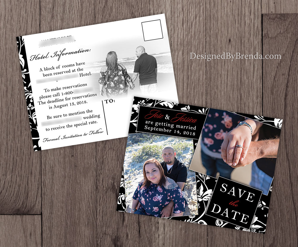 Black & White Damask Save the Date Card or Postcard with 2 Photos