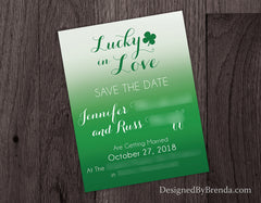 Ombre Lucky in Love Bridal Shower Invitation - Modern Kelly Green Color Gradient