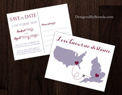 Save the Date Cards with Two States - Love Knows No Distance - Coral & Teal Postcard