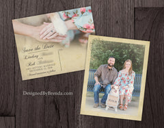 Vintage Save the Date Postcards with Rustic Postmark and Photo