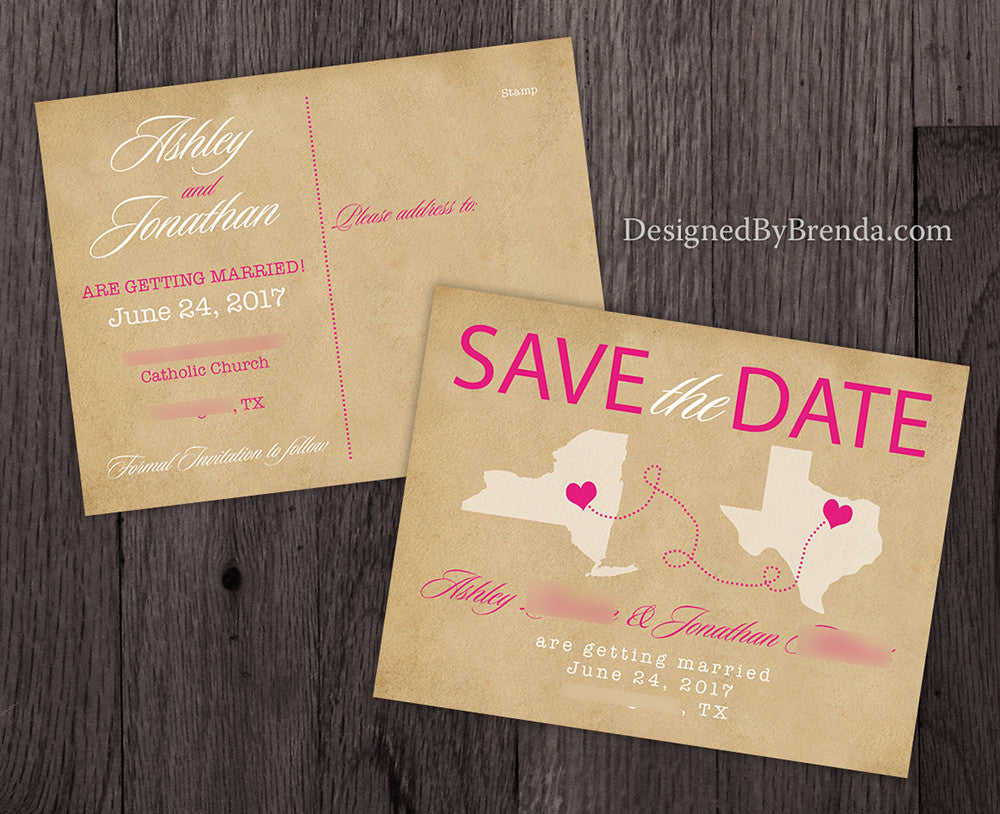 Vintage Save the Date Postcard with Two States & Rustic Hearts ...