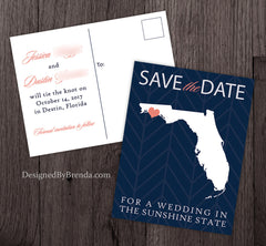 Florida Save the Date for a Wedding in the Sunshine State Postcard - Modern, Teal Chevron Background - Aqua & Red