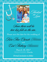 Two Less Fish in the Sea Engagement Party Invitations - Rings on Hook - Chevron Border
