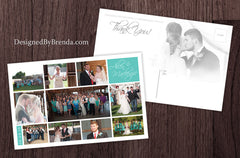 Large Wedding Thank You Postcard with Multiple Photos - Modern Look