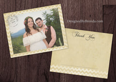 Vintage Chevron Thank You Postcard with Postmark - Rustic Look on Recycled Cardstock