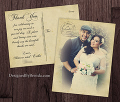 Vintage Wedding Thank You Postcards