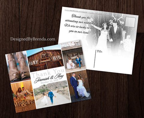 Modern Wedding Thank You Postcards