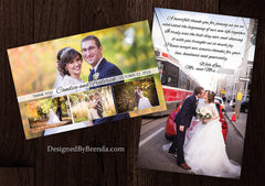 Modern Wedding Thank You Postcard with Photo Collage - One Large Photo in Background