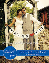 Wedding Thank You Photo Card with Name Banner