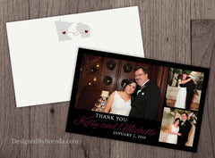 Pink, Black & White Wedding Thank You Card with 3 Photo Collage - Romantic Look