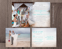 Blended Photo Collage Wedding Invitation - Perfect for Destination Wedding or Reception Only Invite