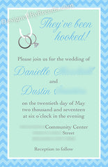 Two Less Fish in the Sea Wedding Invitation with Rings on Hook - Navy and Coral