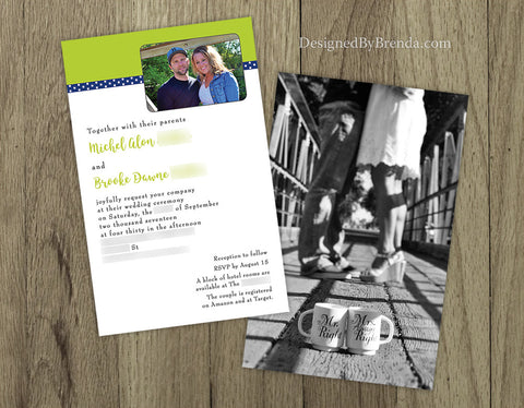 Lime Green Wedding Invitations with Photo - Double Sided with Photo on Back